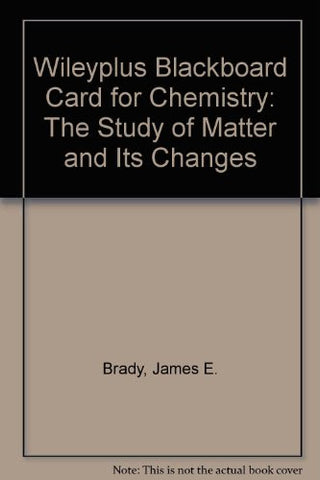 WileyPLUS Blackboard Card for Chemistry: The Study of Matter and Its Changes