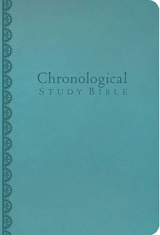 NKJV, Chronological Study Bible, Imitation Leather, Blue, Full Color