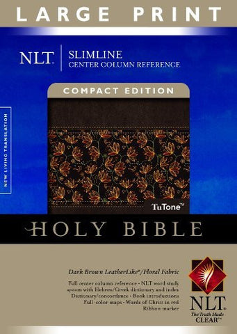 Slimline Center Column Reference Bible NLT, Compact edition, Large Print, Floral TuTone