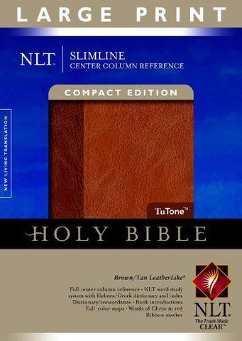 Slimline Center Column Reference Bible NLT, Compact edition, Large Print, TuTone