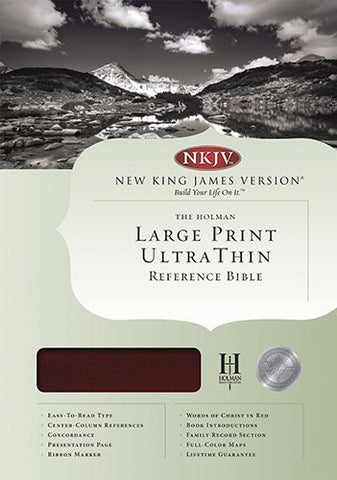 NKJV Large Print Ultrathin Reference Bible, Mahogany LeatherTouch