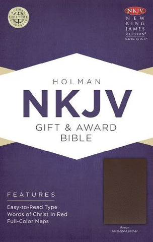 NKJV Gift & Award Bible, Brown Imitation Leather