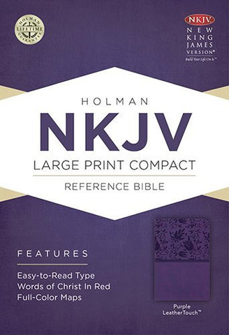 NKJV Large Print Compact Reference Bible, Purple LeatherTouch