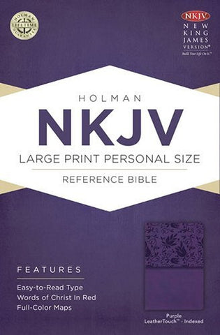 NKJV Large Print Personal Size Reference Bible, Purple LeatherTouch Indexed