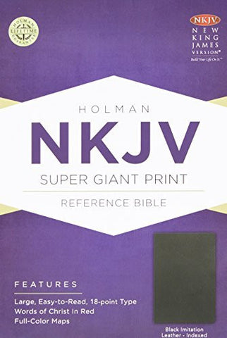 NKJV Super Giant Print Reference Bible, Black Imitation Leather Indexed