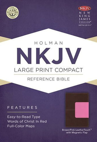 NKJV Large Print Compact Reference Bible, Brown/Pink LeatherTouch with Magnet Flap