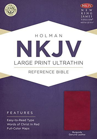NKJV Large Print Ultrathin Reference Bible, Burgundy Genuine Leather with Ribbon Marker