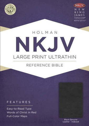 NKJV Large Print Ultrathin Reference Bible, Black Genuine Leather with Thumb Index & Ribbon Marker