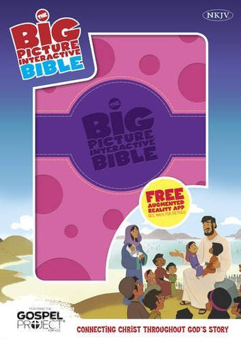 The NKJV Big Picture Interactive Bible, Purple/Pink Polka Dot LeatherTouch: Connecting Christ Throughout God's Story (The Gospel Project)