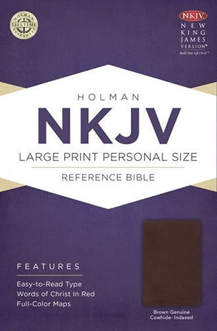 NKJV Large Print Personal Size Reference Bible, Brown Genuine Cowhide Indexed