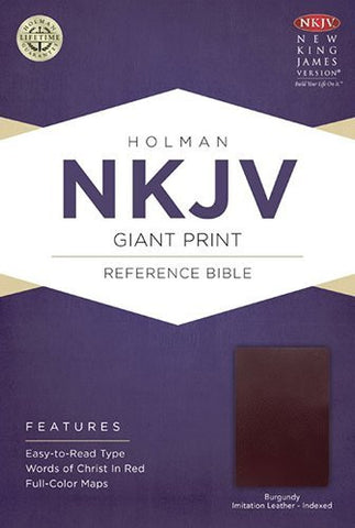 NKJV Giant Print Reference Bible, Burgundy Imitation Leather Indexed