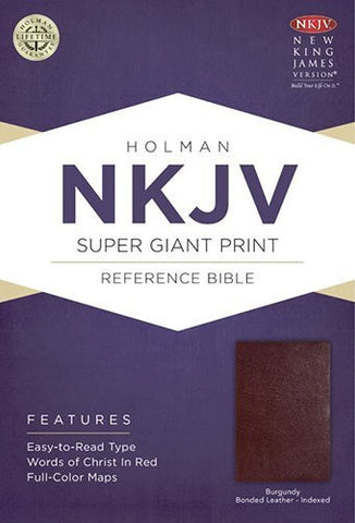 NKJV Super Giant Print Reference Bible, Burgundy Bonded Leather Indexed