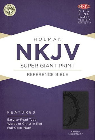 NKJV Super Giant Print Reference Bible, Charcoal LeatherTouch Indexed