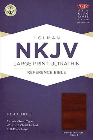 NKJV Large Print Ultrathin Reference Bible, Brown LeatherTouch Indexed