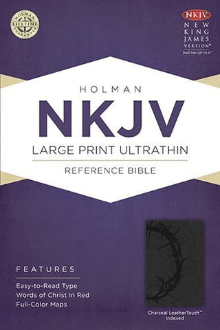 NKJV Large Print Ultrathin Reference Bible, Charcoal LeatherTouch Indexed