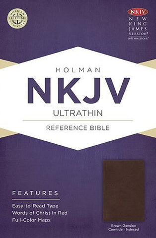 NKJV Ultrathin Reference Bible, Brown Genuine Cowhide Indexed