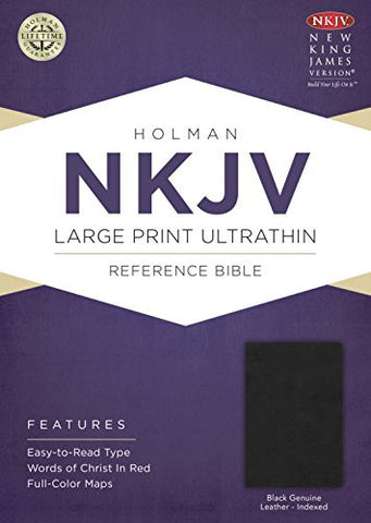 NKJV Large Print UltraThin Reference Bible, Black Genuine Leather Indexed