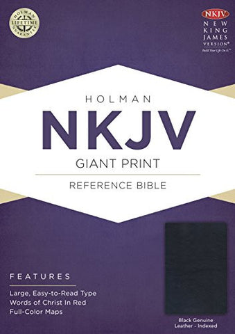 NKJV Giant Print Reference Bible, Black Genuine Leather Indexed
