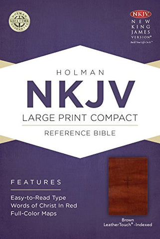 NKJV Large Print Compact Reference Bible, Brown Cross LeatherTouch, Indexed