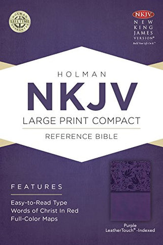 NKJV Large Print Compact Reference Bible, Purple LeatherTouch, Indexed