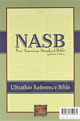 New American Standard Ultrathin Reference Bible; Black Genuine Leather