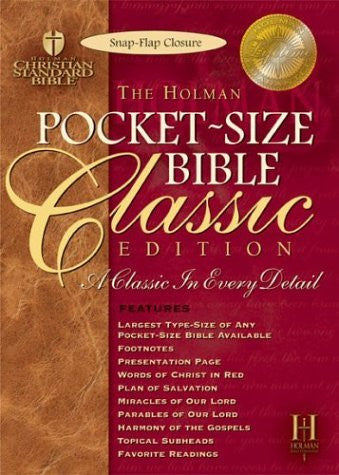 Pocket-Size Bible Classic Edition: Holman Christian Standard Bible, Pecan, Bonded Leather, Slide Tab
