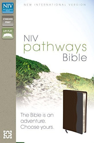 NIV, Pathways Bible, Imitation Leather, Brown/Gray, Lay Flat