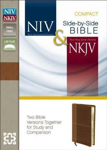 NIV, NKJV, Side-by-Side Bible, Compact, Imitation Leather, Tan/Brown, Lay Flat: Two Bible Versions Together for Study and Comparison