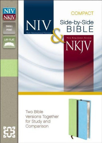 NIV, NKJV, Side-by-Side Bible, Compact, Imitation Leather, Green/Blue, Lay Flat: Two Bible Versions Together for Study and Comparison