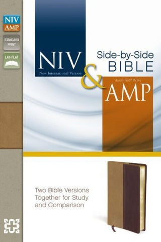NIV, Amplified, Parallel Bible, Imitation Leather, Tan/Burgundy, Lay Flat: Two Bible Versions Together for Study and Comparison