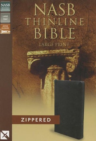 NASB, Thinline Zippered Collection Bible, Large Print, Bonded Leather, Black