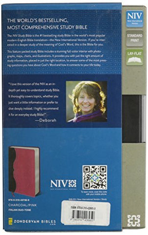 NIV Study Bible, Imitation Leather, Gray/Pink, Indexed, Red Letter Edition