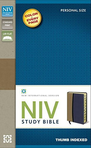 NIV Study Bible, Imitation Leather, Tan/Blue, Indexed, Red Letter Edition