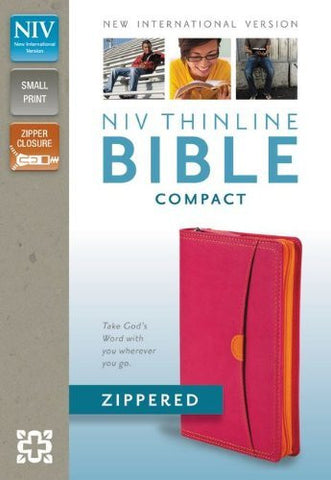 NIV, Thinline Collection Bible, Compact, Imitation Leather, Pink/Orange, Zippered