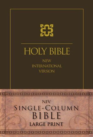 NIV, Single-Column Bible, Large Print, Hardcover, Brown
