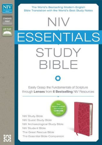 NIV, Essentials Study Bible, Imitation Leather, Pink: Easily Grasp the Fundamentals of Scripture through Lenses from 6 Bestselling NIV Resources