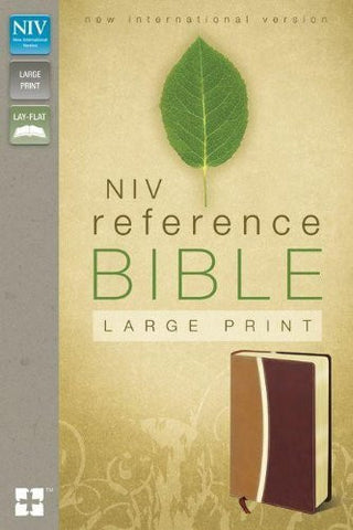 NIV, Reference Bible, Large Print, Imitation Leather, Tan/Burgundy, Lay Flat