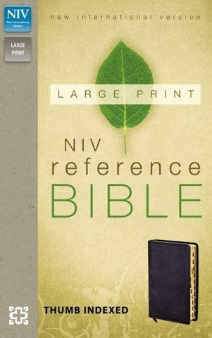 NIV, Reference Bible, Large Print, Bonded Leather, Black, Indexed