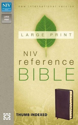 NIV, Reference Bible, Large Print, Imitation Leather, Burgundy, Indexed