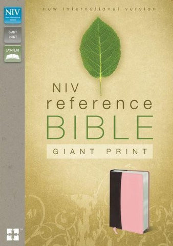 NIV, Reference Bible, Giant Print, Imitation Leather, Burgundy/Pink, Lay Flat
