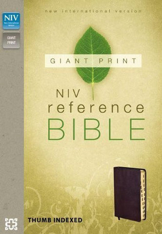 NIV, Reference Bible, Giant Print, Imitation Leather, Burgundy, Indexed