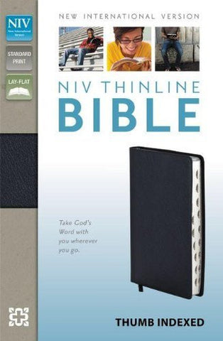 NIV, Thinline Bible, Bonded Leather, Navy, Indexed, Lay Flat