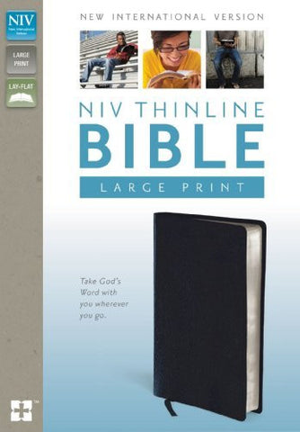 NIV, Thinline Bible, Large Print, Bonded Leather, Navy, Lay Flat