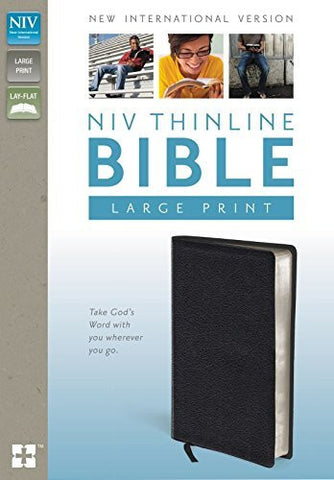 NIV, Thinline Bible, Large Print, Bonded Leather, Black, Indexed, Lay Flat