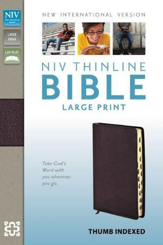 NIV, Thinline Bible, Large Print, Bonded Leather, Burgundy, Indexed, Lay Flat