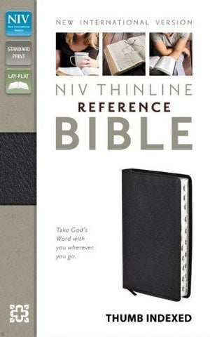 NIV, Thinline Reference Bible, Bonded Leather, Black, Indexed