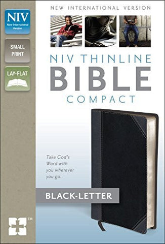 NIV, Thinline Bible, Compact, Imitation Leather, Gray/Black, Lay Flat