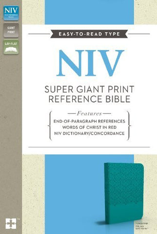 NIV, Super Giant Print Reference Bible, Giant Print, Imitation Leather, Blue, Lay Flat