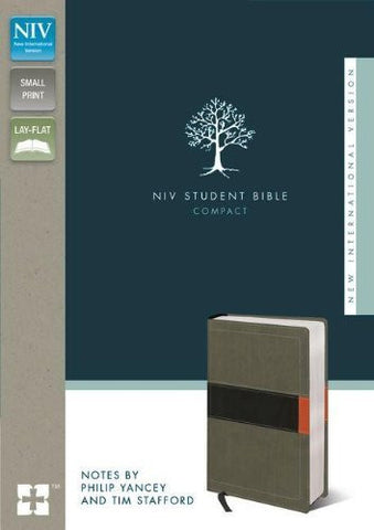NIV, Student Bible, Compact, Imitation Leather, Gray/Green, Lay Flat