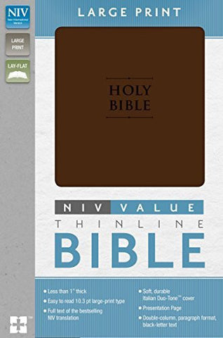 NIV, Premium Value Thinline Bible, Large Print, Imitation Leather, Brown, Lay Flat